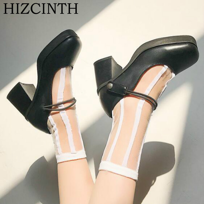 HIZCINTH New Brand Women Shoes Square Toe High Heels Mary Janes Pumps 2018 Spring Casual Leather Plataformas Mujer Ladies Shoe<br>