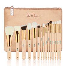 BEILI 15PIECES Pink natural goat hair Synthetic Horse Hair Foundation blusher eye shadow Powder Eyeliner  Makeup brushes set