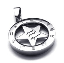 Vintage 316L Stainless Steel 25MM Round Circle Star 12 Zodiac Aquarius Pendant necklace Jewelry with bead chains(China)