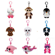 TY 1PC 9CM PENDANT Clip barks dog pippie dog waddles penguin pongo penguin ming panda icy seal hello kitty marcel(China)