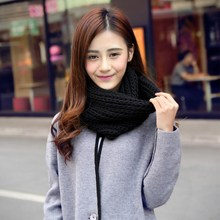 2017 Knitted Scarf Women Pure Neck Woolen Scarf Autumn Winter Scarf Women Warm Shawls 2 Circle Cable Knit Long Ring Scarves(China)