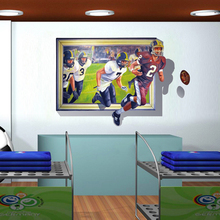 70*100cm 3D Effect Playing rugby Self Adhesive Vinyl Removable Decal for Boy Bedroom Living Room PVC Wall Sticker Mural Decor