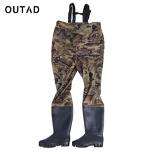 OUTAD Camouflage Rafting Wear Men Waterproof Stocking Foot Breathable Chest Wader For Outdoor Hunting Fly Fishing(China)