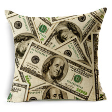 United States One Hundred Dollar Bill Pattern Cushion Covers American Style Decorative Cushion Cover Beige Linen Pillow Case