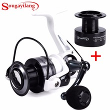 Sougayilang 13+1BB Spinning Fishing Reel Left Right Handle Metal Spool Stainless Steel Shaft 1 Spare Plastic Spool