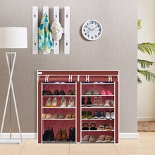 Finether 6 Layer 11 Grid Non-woven Fabric Shoe Rack Shelf Storage Closet Organizer Cabinet Red Shoes Storage Furniture