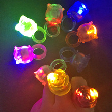 20pcs Led Flashing Light Up Glowing Finger Rings Electronic Christmas Fun Toys Gifts For Children Glow Rose Ring For Wedding(China)