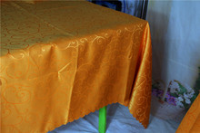 Orange Rectangular  Jacquard  Tablecloth/Table Cover For Wedding Party Hotel Banquet Decorations-Lycra Chair Bands