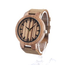 Modern Men Wooden Wristwatch With Leather Strap Natural Wood Watch Gift For Groomsmen