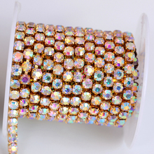 10 yards/roll gold base crystal ab SS6 to SS18 intensive gold base new style diy beauty accessories rhinestone chain Y2272
