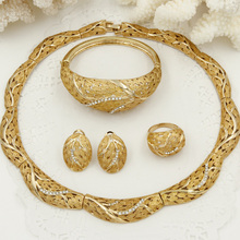 Dubai retro gold jewelry sets Italy Wheat pattern design Fashion African Nigerian Women crystal necklace jewelry set