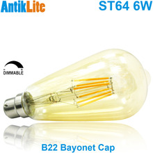 Incandescent Style European Large Bayonet Cap BC B22 Based Nipple Tipped ST64 Amber Glass Antique LED Filament Light Bulb 6W 6/W