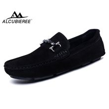 ALCUBIEREE Genuine Leather Men Loafers Fashion Slip Driving Shoes Men Moccasin Boat Shoes Casual Business Men Shoes Gommino