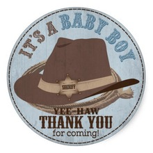 3.8cm Cowboy Hat and Rope Western Baby Shower Classic Round Sticker