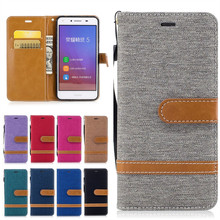 Cases For Huawei Y5 II Coque Etui Cover Fashion Denim Jeans Wallet Leather Phone Bag For Huawei Y5II Y5 ll 2 Capinha Hoesje Capa(China)