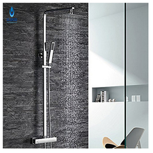 Buy ULGKSD Thermostatic 8''Rainfall Shower Head W/Hand shower Tub Shower Faucet Chrome Finish Hot Cold Mixer Taps for $159.50 in AliExpress store