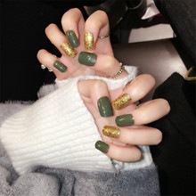24pcs/box,3boxes/lots Mexican green color gold fake nails sequins combination of light therapy false nails for party