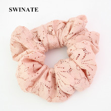 New Fashion Women Simple Lace Hair Band Solid Plain Rope Band Hair Scrunchies Black Ivory Pink Elegant Hair Holder Ponytail