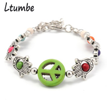 Ltumbe Tibetan Silver Color Colorful Bohemian Stone Beads Bracelets Fatima Hands Peace Bracelets & Bangles for Women Masculino(China)