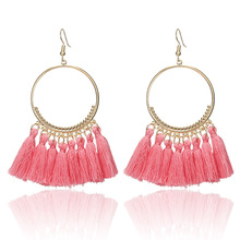 Bohemian Handmade Statement Tassel Earrings For Women Vintage Round Drop Ethic Earrings Wedding Bridal Fringed Jewelry