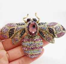 Charming Retro Bee Insectl Woman Brooch Pin Purple Crystal Rhinestone Gold Tone(China)