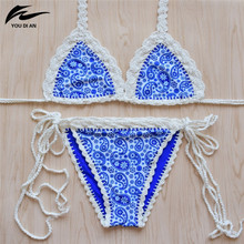 Crochet Bikini Brazilian 2017 Sexy Handmade Knitted Biquini Sets Women Push Up Bikini Swimwear Hot Sale Halter Blue Swimsuit
