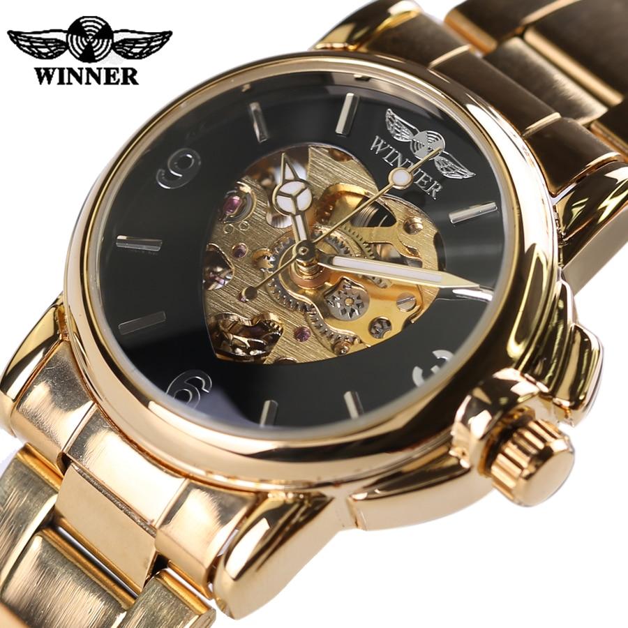 Promotional New Skeleton Watches Women Winner Steel Strap Mechanical Dress Watch Clocks Women Gold Whatch Erkek Saat Free Ship<br><br>Aliexpress