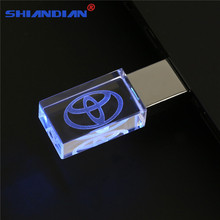 SHANDIAN Crystal flash Light memory stick Toyota logo USB 2.0 4GB 8GB 16GB 32GB 64GB Flash Memory Stick Metal Pen Drive Gifts(China)
