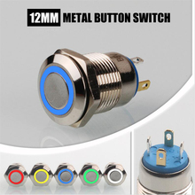 Promotion! 12mm Metal Push Button Switch Red Green Blue White LED Pilot Light Momentary Button Switch