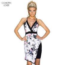 Comeonlover Irregular Suspender Dress Lace Sexy Clubwear Patchwork Summer Floral Print Bodycon Dress RT8034 Fashion Dress Robe(China)