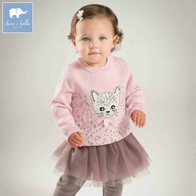 DB5439 dave bella autumn newborn baby girls wool pullover tops infant clothes toddler children knitted Sweater<br>