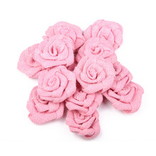 6pcs Vintage Handmade Burlap Flower Artificial Roses Hessian Jute Flower Rustic Vintage Rose For Party Wedding Decoration