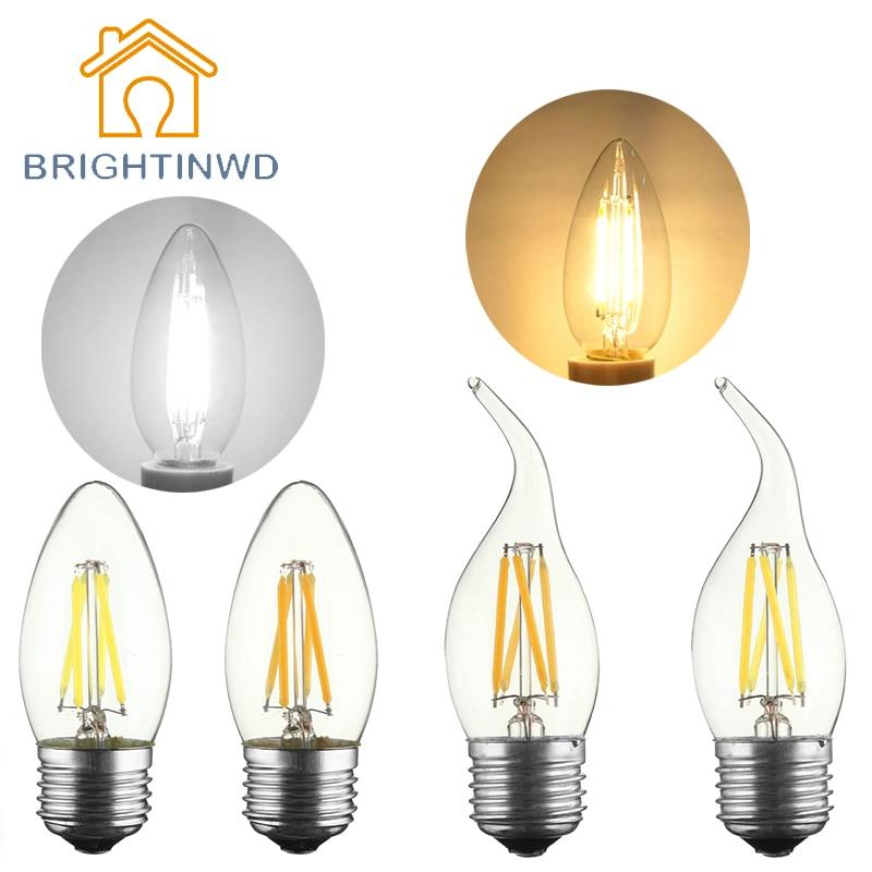 C35 C35L 2W 4W LED Edison Bulb Vintage LED Lamp 220V Retro LED Filament Light E14 E27 Candle Light Lamp Replace Incandescent<br><br>Aliexpress