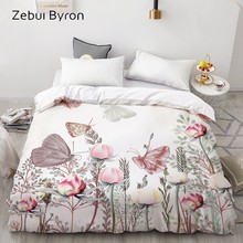 3D HD Digital Print Custom Duvet Cover,Comforter/Quilt/Blanket case Queen/King Bedding 220x240/200x200,Butterfly in flowers(China)