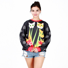 2016 Christmas new arrival Women Long Sleeve Sweatshirt 3D Print Cat snowflake O-Neck Jumper fashion casual Coats Black Tops
