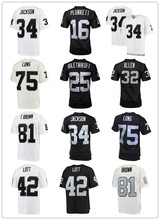 Men's Jim Plunkett Bo Jackson Howie Long Marcus Allen Fred Biletnikoff Ronnie Lott Tim Brown Throwback jersey(China)