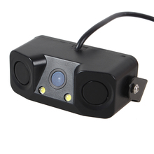2 in 1 Car Rearview Camera with 2 Sensors CCD HD Car Reverse Backup Cameras with LED Light Parking Radar System