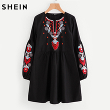 SHEIN Buttoned Keyhole Front Lantern Sleeve Embroidered Smock Dress Autumn 2017 Boho Dress Black Long Sleeve A Line Dress