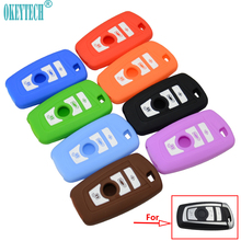 OkeyTech Silicone Car Key Cover Case For BMW 1 2 3 5 7 Series F10 F20 F30 335 328 535 650 Remote Key Shell 3 Buttons Car-Styling(China)