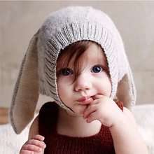 Baby Rabbit Ears Knitted Hat Infant Toddler Winter Cap for Children 0-3 Years Girl Boy Accessories Photography Props(China)
