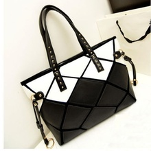 Fashion Womens Faux Leather Black&White Hobo Tote Handbag Shoulder Bag Shopper  BAOK-df34