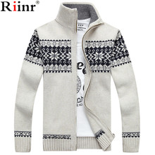 Riinr New Arrival Men's Cardigans Sweaters Winter Men's Casual Sweaters Warm Zipper Men Cardigan Stand Collar Knitted Sweaters(China)