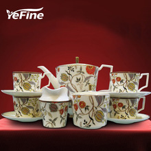 YeFine Cearmics Continental Hotel Restaurant Bone China Tea Set Luxury Coffee Cup Set With Sugar Bowl Milk Pot(China)