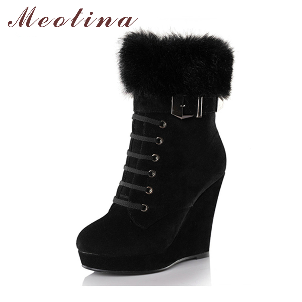 Meotina Women Boots Winter Platform Wedge Heels Boots Fur Ladies Ankle Boots Buckle Autumn High Heels Shoes Black Size 34-39 New<br>