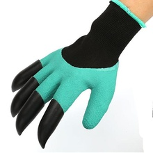 newcomdigi 1 Pair Rubber Polyester Builders Garden Digging & Planting Work Latex Gloves 4ABS Plastic Claws(China)