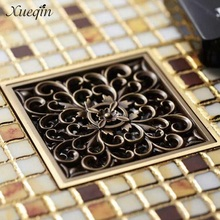 Xueqin 4'' Square Antique Brass Floor Drain Bathroom Shower Insert Stopper Grates Waste Kitchen Floor Drain(China)