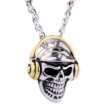 Valily Jewelry Mens Necklace Skull Head With bluetooth headset Pendant Necklace Stainless Steel Fashion Gold Earephones Pendant