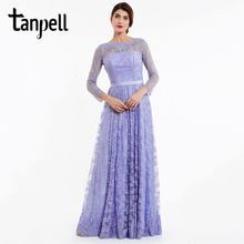 Tanpell long evening dress lavender full sleeves lace a line floor length gown women backless party prom formal evening dresses