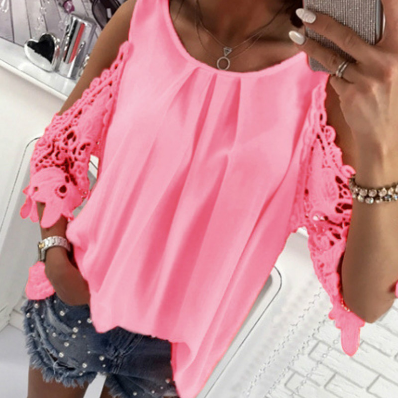 Women Summer Chiffon Blouses 18 New Casual Sexy Sun-top Blusas Half Sleeve Lace Patchwork Shirts Off Shoulder Tops Solid GV381 4