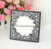 50pcs Hollow pattern laser cut black pearl paper invitation cards wedding wish card